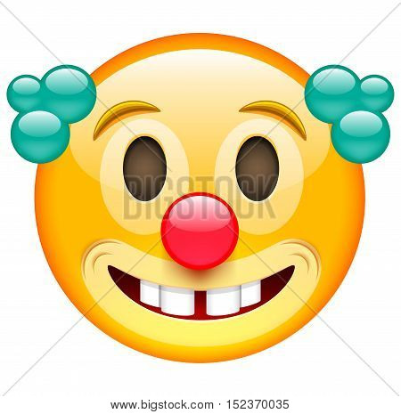 Happy Clown Face with Green Hair. Emoji of Clown. Clown Smile with Red Nose. Emoticon. Isolated vector illustration on white background