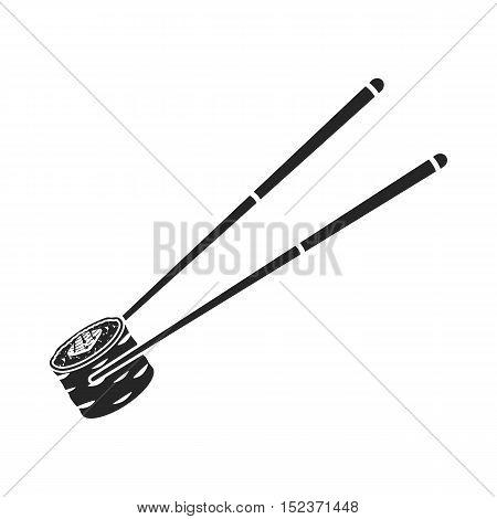 Chopsticks icon in  black style isolated on white background. Sushi symbol vector illustration.