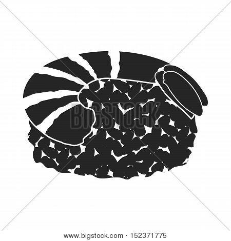 Ebi Nigiri icon in  black style isolated on white background. Sushi symbol vector illustration.