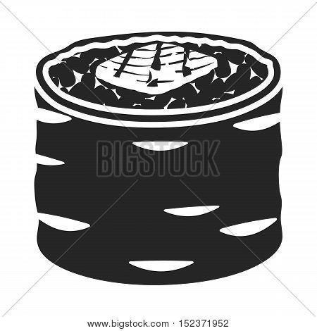 Norimaki icon in  black style isolated on white background. Sushi symbol stock vector illustration.