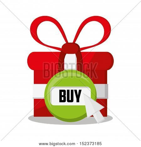 Gift and button icon. shopping online ecommerce media and market theme. Colorful design. Vector illustration
