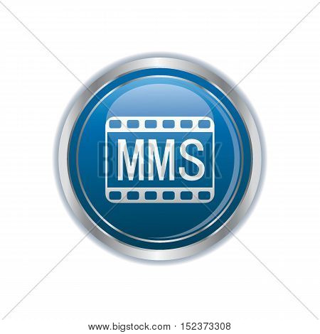 MMS icon on the button. Vector illustration