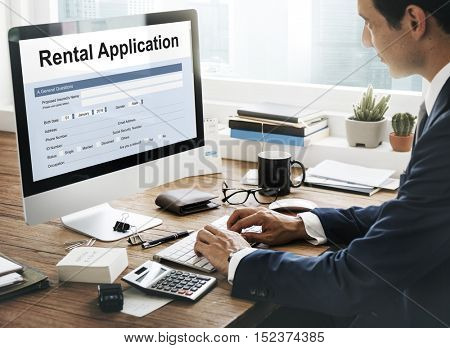 Rental Application Borrow Apply Rent Concept