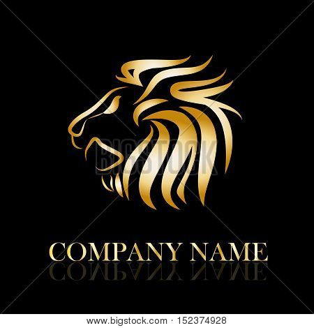 Vector sign golden lion illustration isolated in black