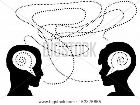 lack of communication between the pair illustration isolated in white