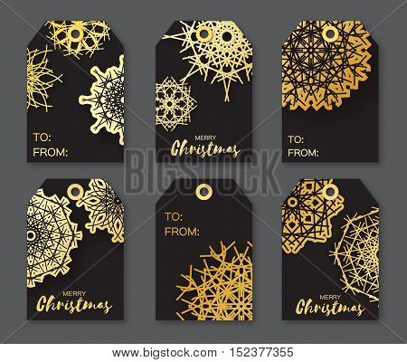Golden Foil Christmas labels. Festive collection of black background. Ready-to-use gift tags. Xmas and New Year Set of 6 printable origami holiday label. Vector seasonal badge design illustration