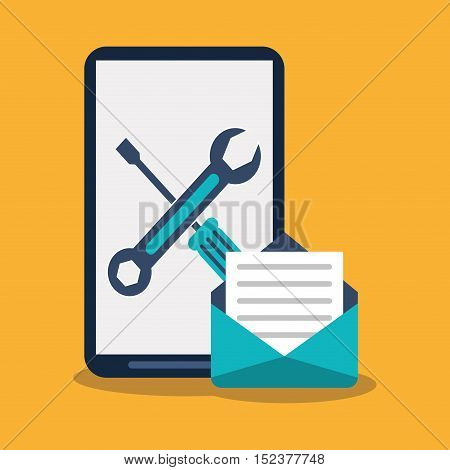 Smartphone tools and envelope icon. Social media marketing communication theme. Colorful design. Vector illustration
