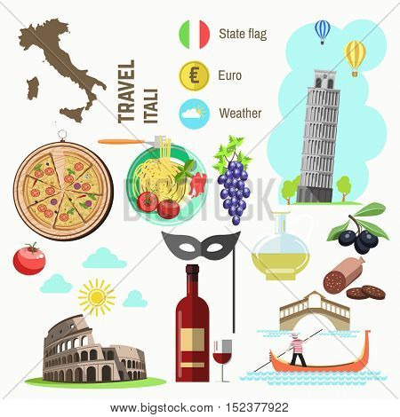 Set of Rome Italy symbols. Italian vector illustrations. Collection icons Venice mask and gondola, Pisa Tower and Colosseum, pizza and cheese, olive oil, wine bottle and pasta, flag and map.
