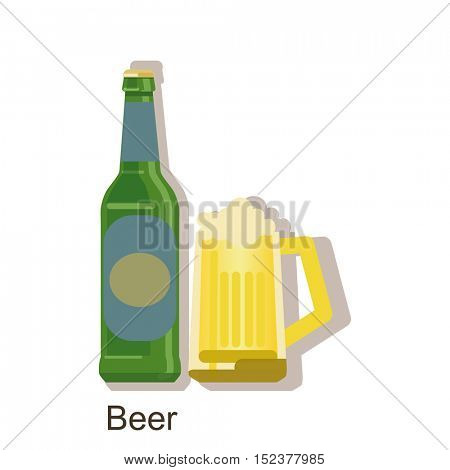 Vector icon beer bottle. Beer Alcohol drink â?? vector bottle and mug. Isolated on white background.