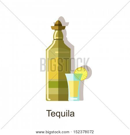Tequila alcoholic drinks. Pair of tequila bottle and special wine glass. Vector colorful flat icon with shadow. Isolated on white background.