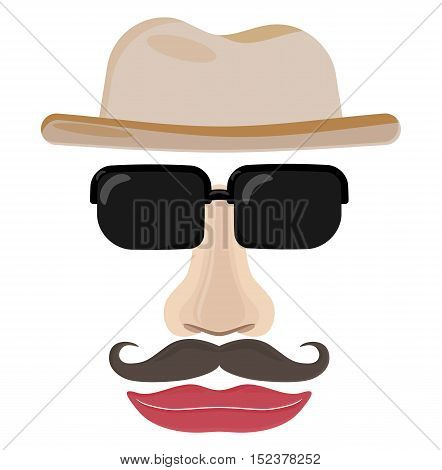 Funny face of invisible man. Illustration of man face with hat sunglasses nose mustache and lips.