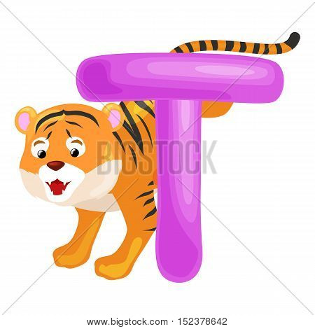 tiger animal and letter T for kids abc education in preschool.Cute animals letters english alphabet. Cartoon animals alphabet for learning letters vector illustration. Single letter with wild animal tiger