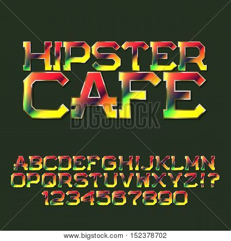 Motley letters and numbers. Festival banner font. Isolated english alphabet with text Hipster Cafe.