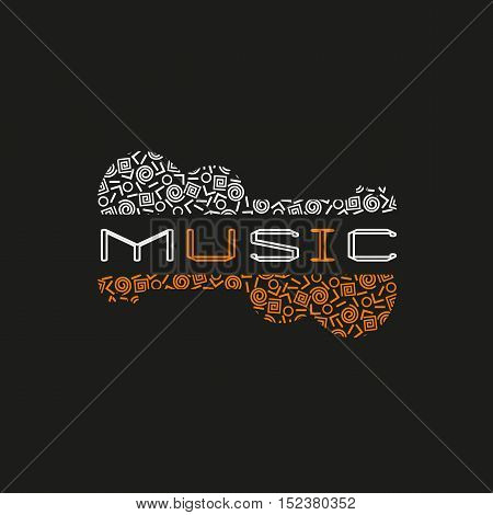 Template Design Poster with doodle acoustic guitar silhouette. Vintage music icon. Black orange white musical instrument logo in Swiss international style. Modern Memphis pattern. Vector illustration