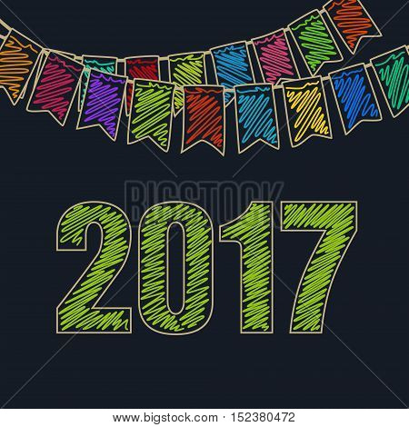 Merry Christmas and Happy New Year 2017, Christmas Festive Background, Holiday Colorful Colored Bunting Flags and the Green Date of 2017, Drawing Crayons or Markers, Vector Illustration