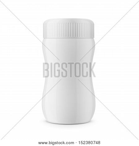 Round white glossy plastic jar with ribbed lid for dry products - hot chocolate, cocoa, instant coffee. Realistic packaging mockup template. Front view. Vector illustration.