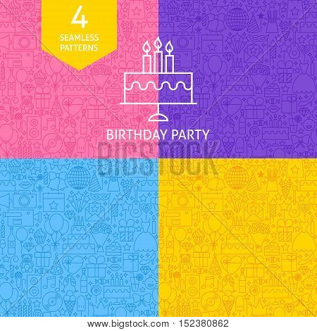 Line Birthday Party Tile Patterns. Four Vector Website Design Seamless Backgrounds. Celebration Event.