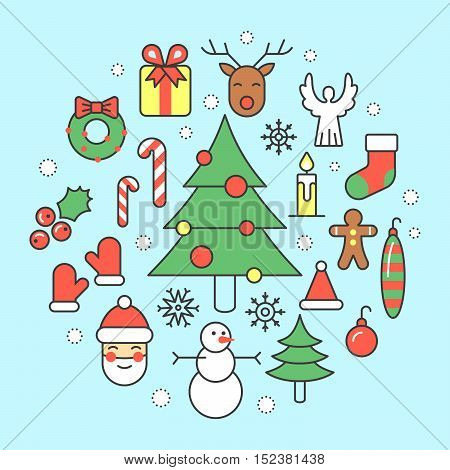 Christmas and Happy New Year 2017 Thin Line Vector Icons Set with Santa Claus, Reindeer and Christmas Tree