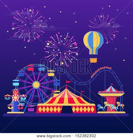 Amusement park at night with fireworks, balloon and rides. Vector illustration