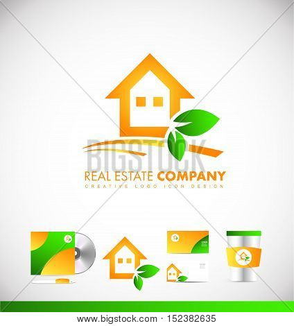 Real estate orange house vector logo icon sign design template corporate identity
