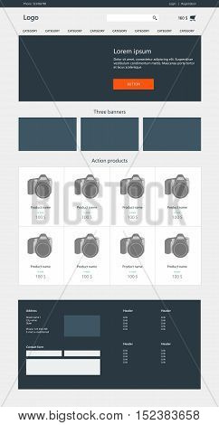 Website design template. On line store. E-commerce. Response web page vector layout. Flat design
