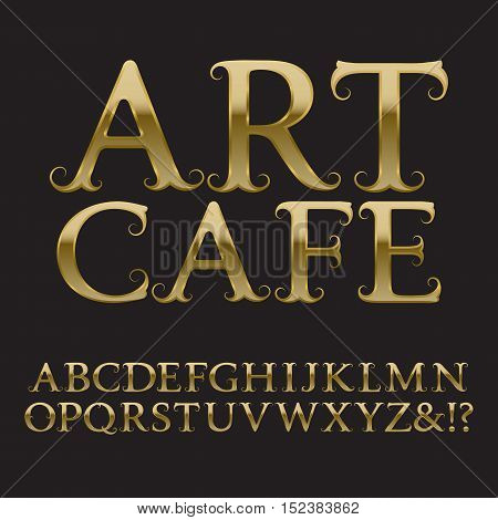 Gold letters with tendrils. Vintage font in baroque style. Isolated english alphabet with text Art Cafe.