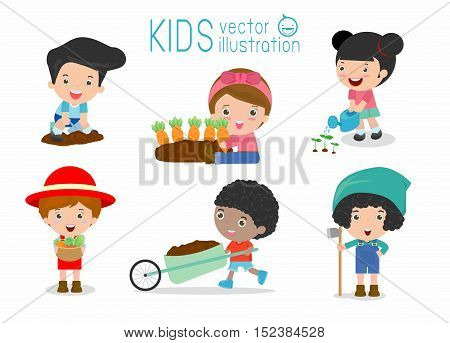 kids working in a vegetable garden, Children working in a vegetable garden, kids life in garden creative, farmer child profession, kids in the farm on white background Vector Illustration