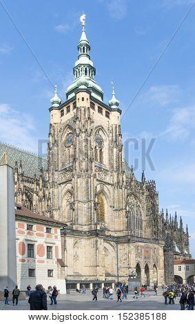 PRAGUE, OCTOBER 15: St. Vitus Cathedral in Hradcany at Prague Castle on October 15, 2016 in Prague, Czech Republic.