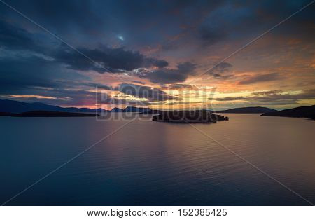 Aerial of the Sunrise in Nidri Lefkas island Greece