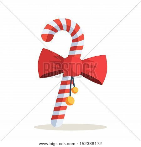Christmas Candy Cane with Red Bow. Vector illustration isolated on white background for holiday design web banners, icons for website or greeting cards