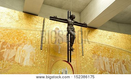FATIMA, PORTUGAL - October 6, 2016: View of the bronze cross of the Basilica of the Most Holy Trinity in Fatima Portugal.