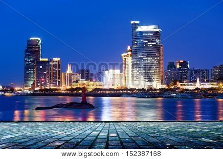 Night view of modern architecture in Xiamen, China.