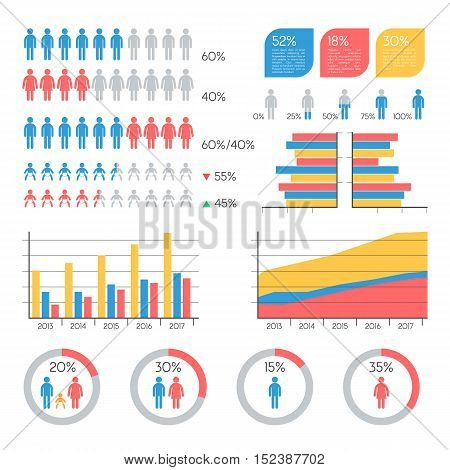 Human infographic vector illustration. Statistics Demographics, families and infants info elements set. Vector Illustration template for presentation Information Graphics