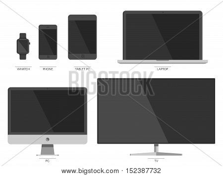 Technology digital device set: TV, Lcd monitor and notebook, tablet PC, mobile phone, smart watch templates. Electronic devices sign collection. Vector illustration
