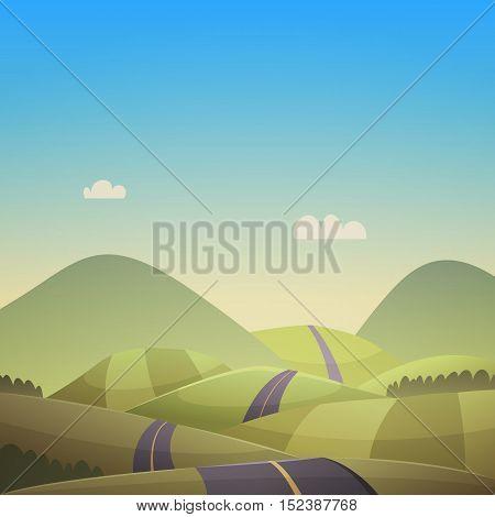 Countryside landscape with asphalt road over green hills.