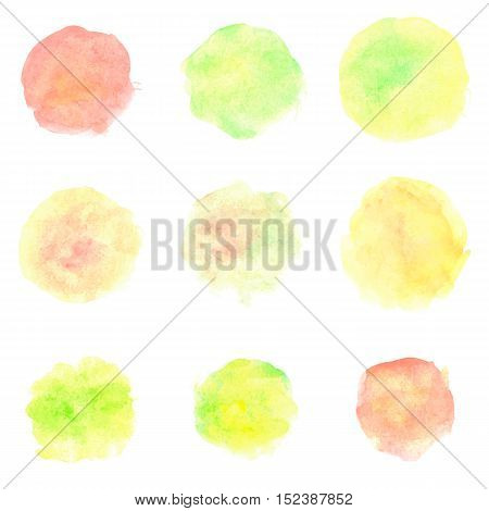 Watercolor circles isolated on white background. Set of colorful hand painted stains. Autumn tints. Bright vector illustration