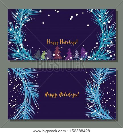 Set of horizontal festive vector banners. Season greetings template. Happy holidays. Vintage retro style. Design Element for Happy New Year invitation card. Christmas background. Vector illustration.