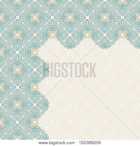 Calligraphic islam design elements. Vintage eastern corners. Lines style