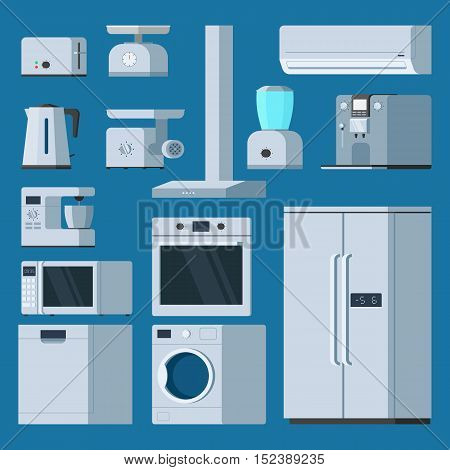 Kitchen equipment object set: fridge, toaster, coffee machine, washing machine, air conditioner, meat Mincer, microwave, kettle. Vector illustration trendy flat style design
