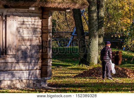 part of an old wooden house, the boy collects fallen leaves in the bag, the child view from the back, hat, jacket, sunny evening, next to a pile of fallen leaves, autumn, october,