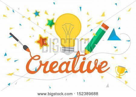Vector illustration with hand lettering word Creative. Design template background with calligraphy and flat elements