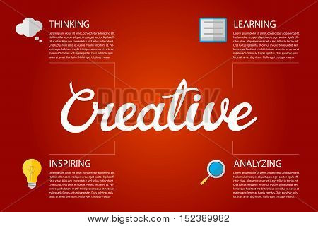 Vector illustration design template infographic with hand lettering word Creative and flat icons.