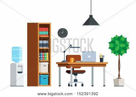 Workplace interior furniture: desk, laptop, chair, bookcase, water cooler, tree, lamp, clock. Office theme web banner. Flat style trendy vector illustration isolated on white background
