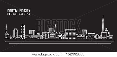 Cityscape Building Line art Vector Illustration design - Dortmund city
