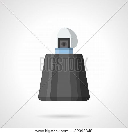 Black bottle of male fragrance. Cosmetic and perfumery products for men. Elegance cologne vial. Flat color style vector icon.