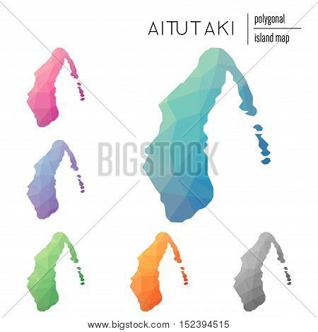 Set Of Vector Polygonal Aitutaki Maps Filled With Bright Gradient Of Low Poly Art. Multicolored Isla