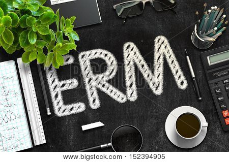 ERM Handwritten on Black Chalkboard. 3d Rendering. Toned Illustration.