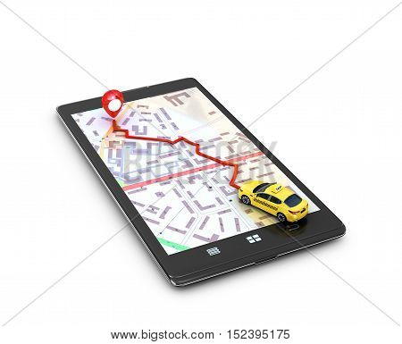 The concept of search engines program the GPS on the mobile phone. Yellow taxi on the map GPS mobile phone movement toward the goal. 3D illustration