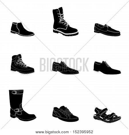Man's footwear, silhouettes, white details. Man's footwear. Names: biker boot, bootee, business shoe, lase-up, men's sandal, moccasin, outdoor boots, trainers, trekking boots