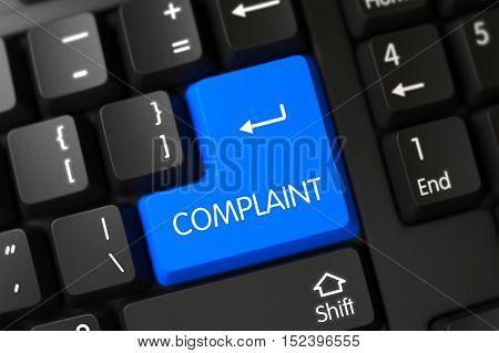 Complaint Button on Modernized Keyboard. 3D Render.